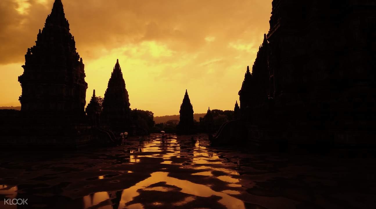 Prambanan temple in the yellow sunset